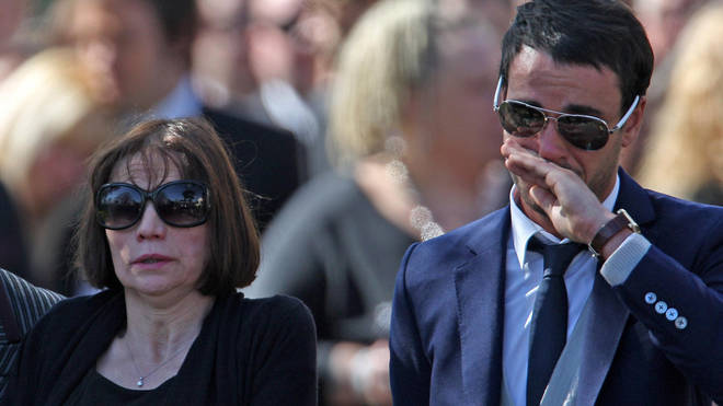 Jackiey Budden and Jack Tweed at Jade's funeral