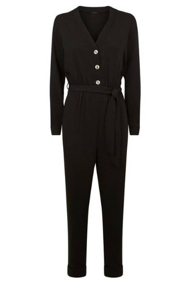 Black Herringbone Button Up Jumpsuit