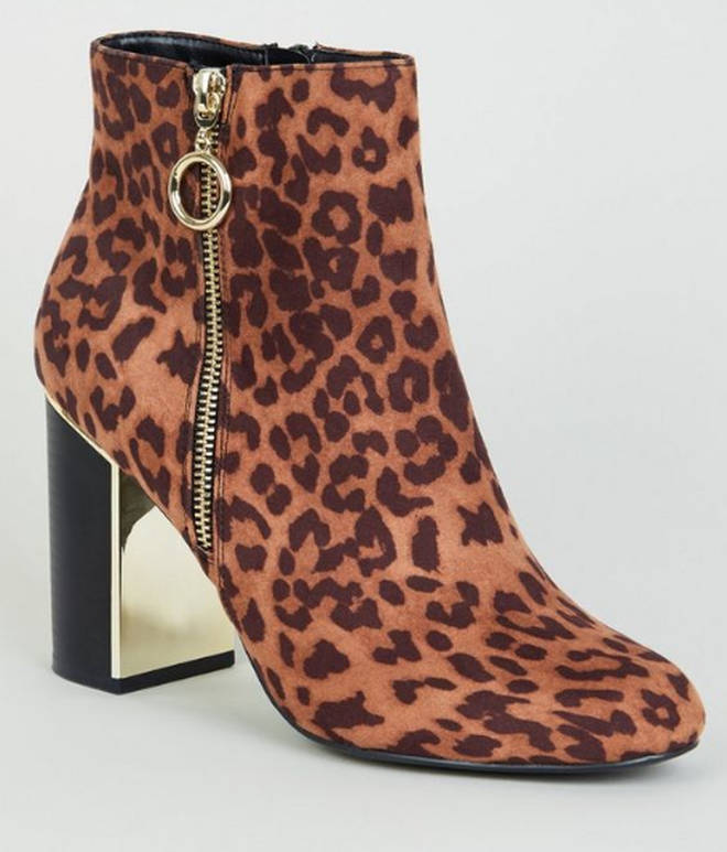 Stone Leopard Print Metal Heel Ankle Boots