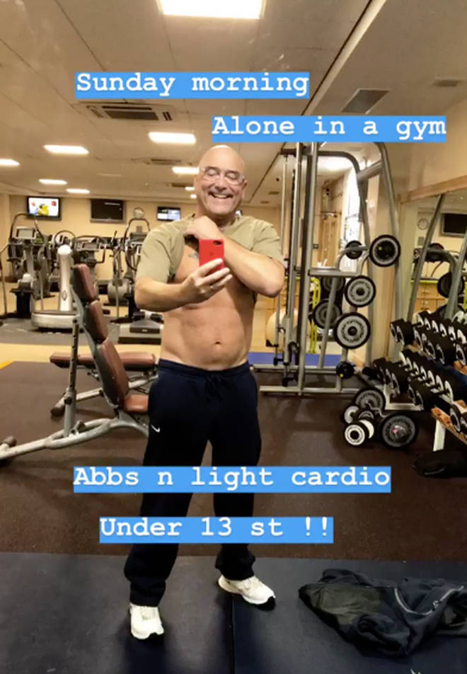 Gregg Wallace flashes his abs on Instagram
