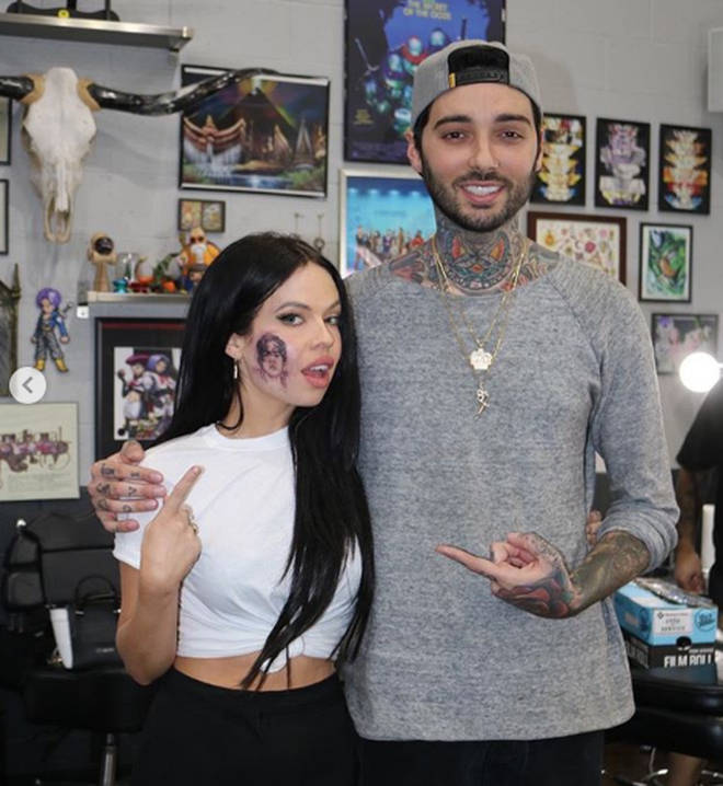 77b3950207ceb Celebrities with face tattoos: Kelsy Karter's Harry Styles inking ...