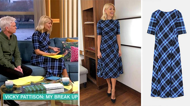 38c1cde1 Holly Willoughby's blue tartan dress from This Morning revealed - Heart