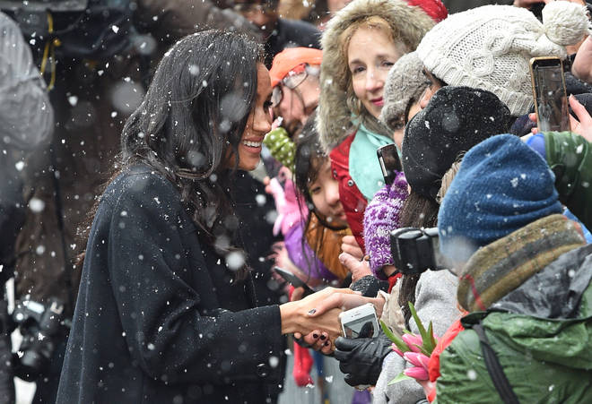 Meghan Markle was still all smiles as she greeted the crowd