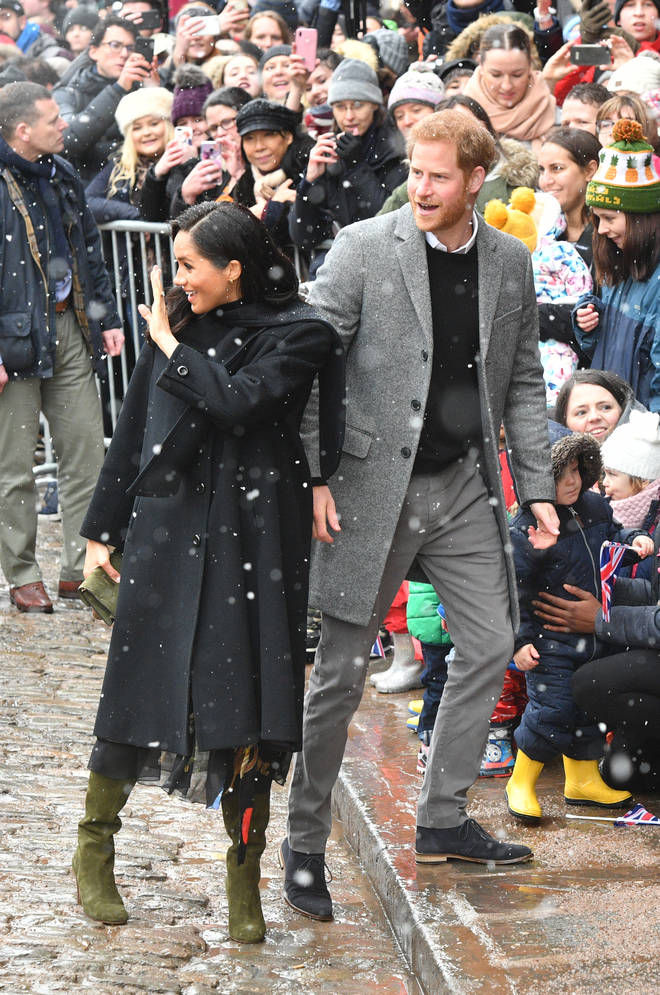 Meghan Markle and Prince Harry arrived a little late due to the weather