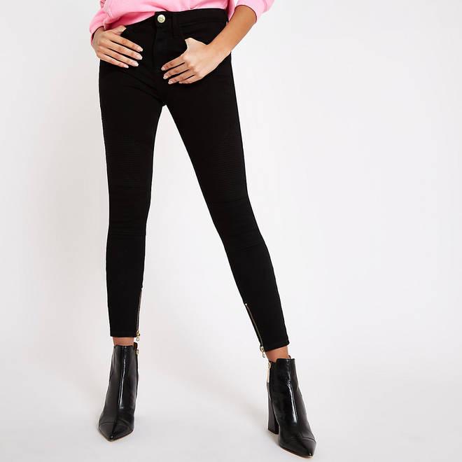 Black Amelie biker skinny jeans