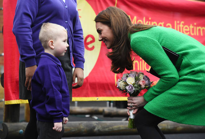 Kate Middleton accepted flowers from a child during the visit