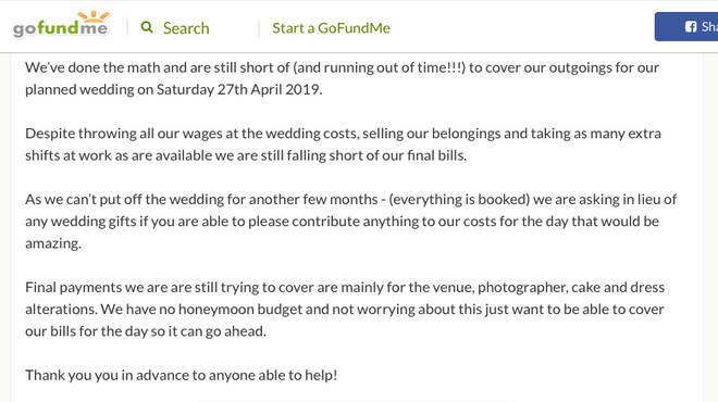 GoFundMe for wedding