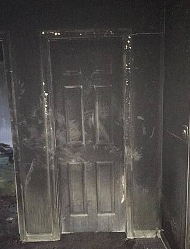 The side facing the fire was severely damaged