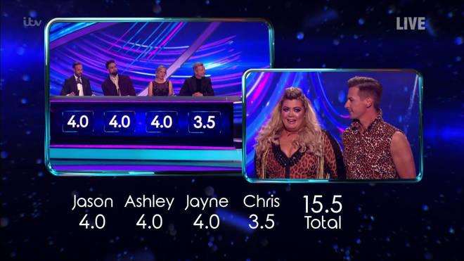 Gemma and Matt were awarded 15.5 for their Survivor routine