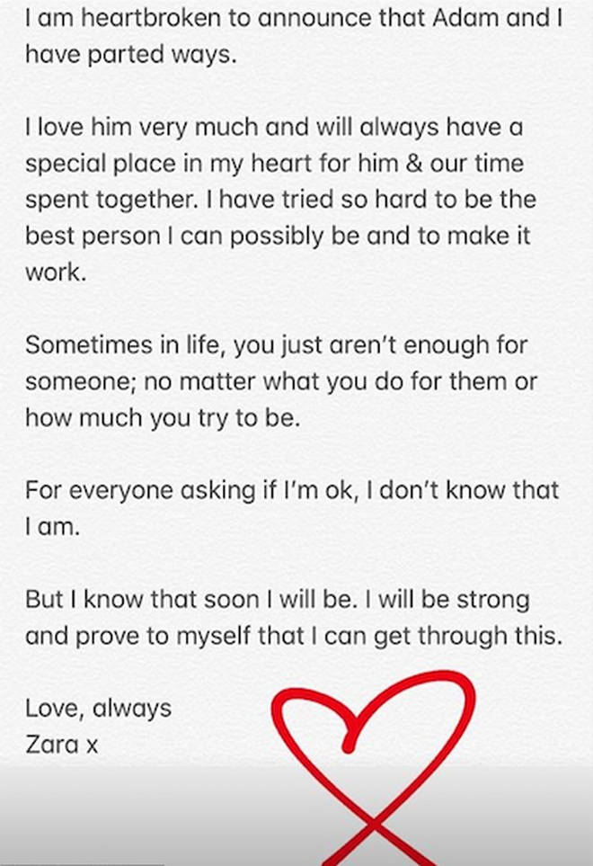Zara's Instagram statement