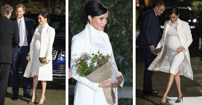 Meghan Markle showed off her growing baby bump in a white ensemble