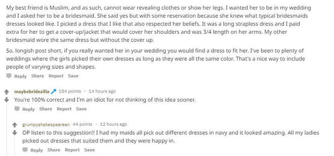 The bride posted on Reddit to see if others thought she was being unreasonable
