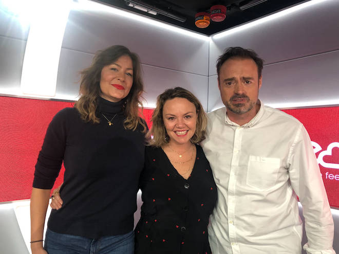 Charlie Brooks with Jamie and Lucy on Heart Breakfast this morning