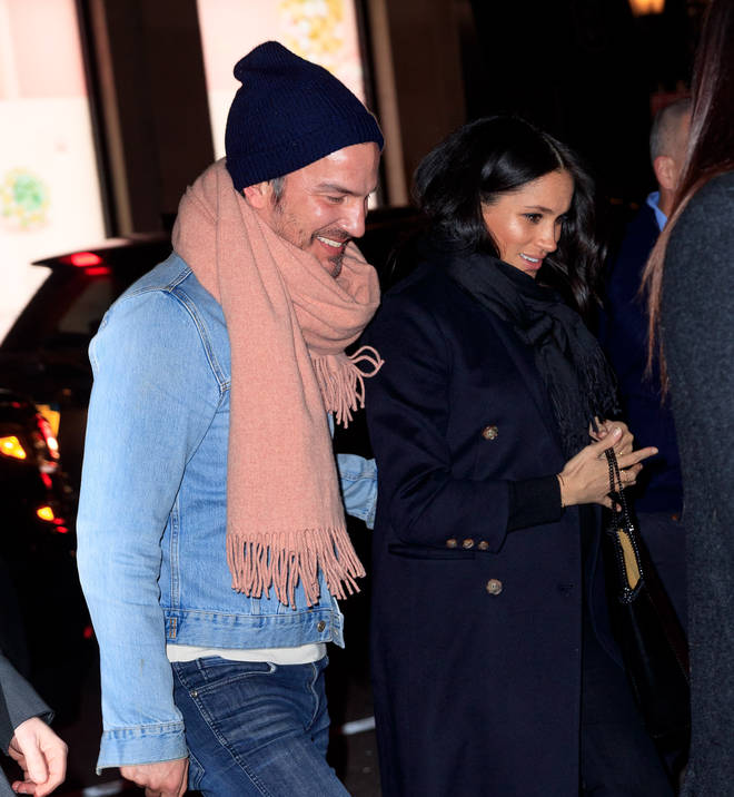 Meghan Markle visited The Polo Bar in the evening