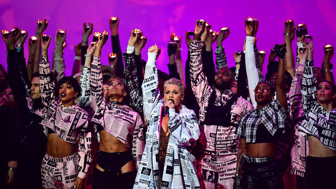 Pink closed the 2019 Brit Awards with a performance of some of her biggest hits