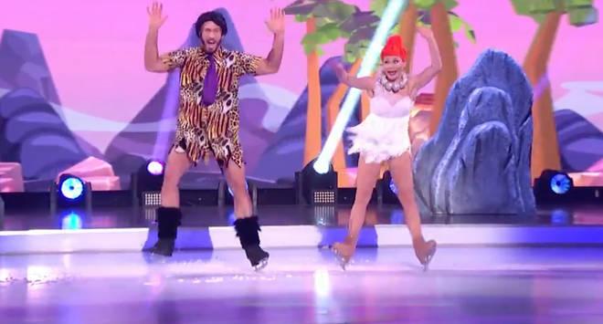 James Jordan performed a Flintstones-themed skate during last night's show