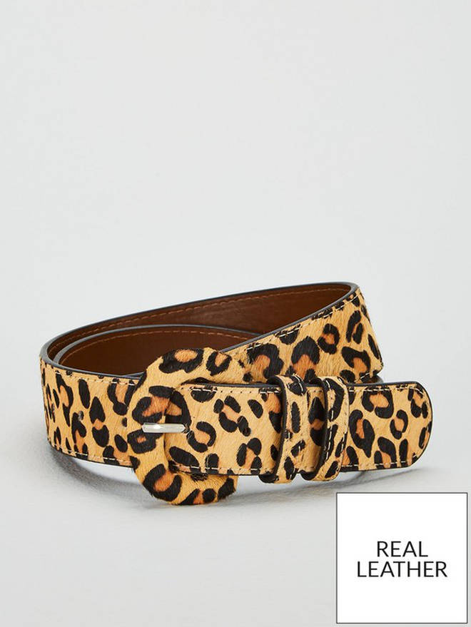 Olivia Leather Belt - Leopard Print