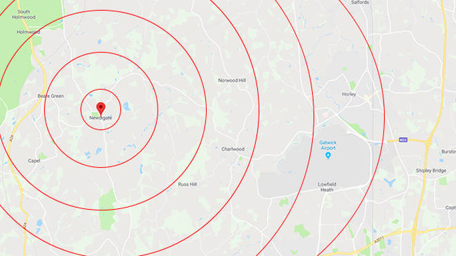 An earthquake struck near Gatwick Airport last night