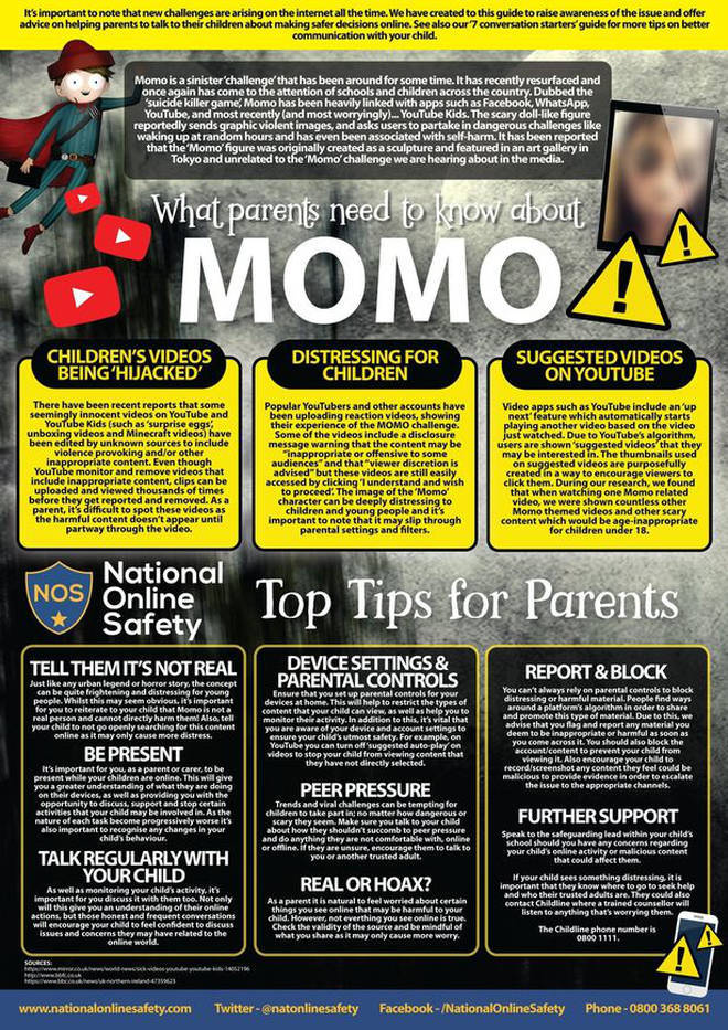 National Online Safety released these tips on how to handle the Momo Challenge