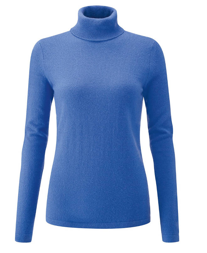 Holly's roll neck is the Cashmere Roll Neck Sweater by Pure, still online in the sale for £75