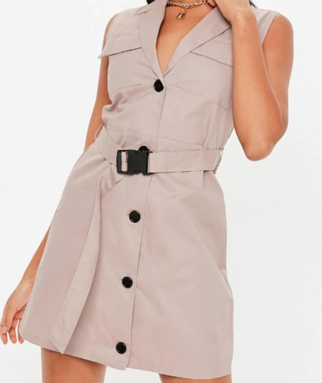 Stone sleeveless belted blazer dress