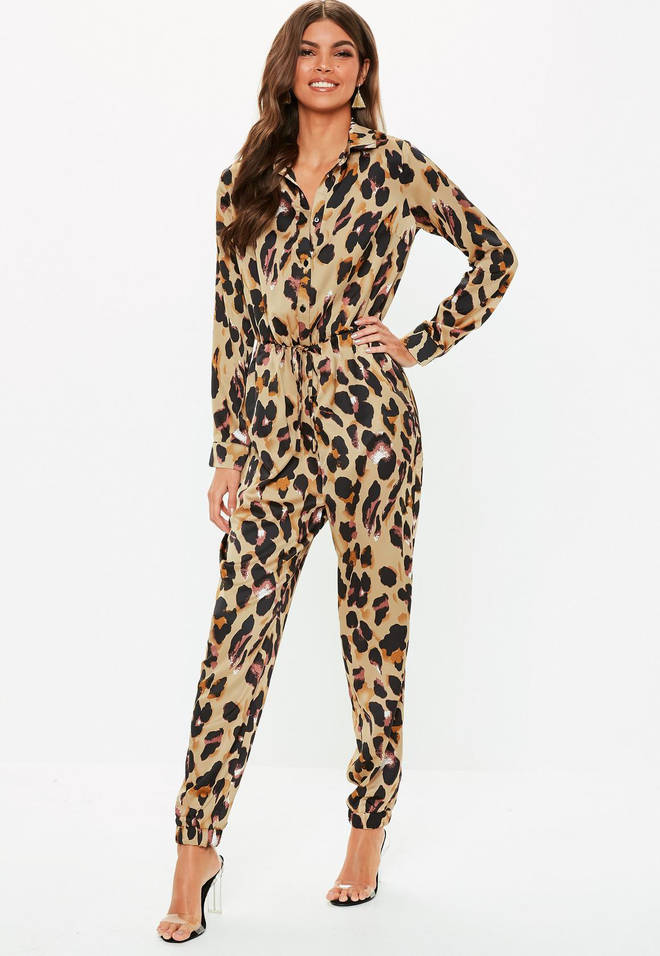 Brown leopard print utility jumpsuit