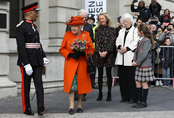 The Queen was greeted by cheering crowds in South Kensington this morning