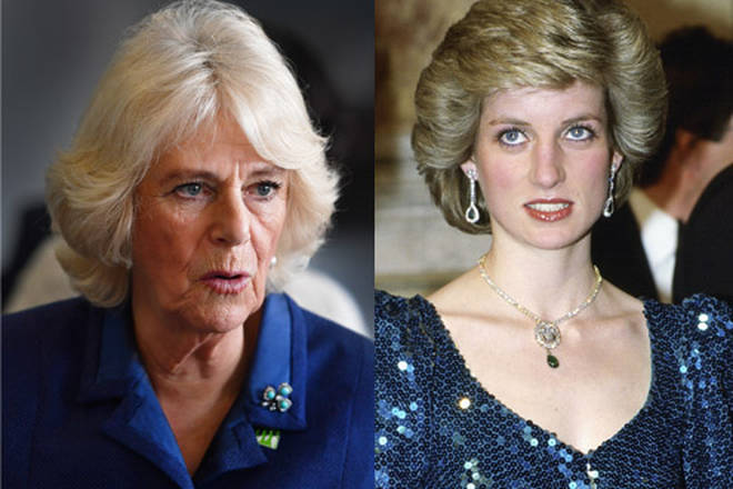 Camilla wore jewellery previously worn by Prince Diana at Buckingham Palace