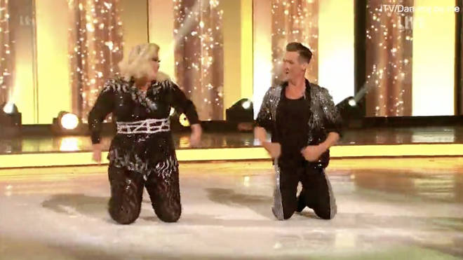 Gemma Collins barely skated, instead rolling around on the ice