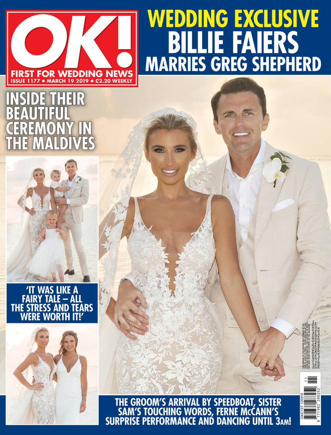 The first look at Billie's dress was on the cover of this week's OK! Magazine