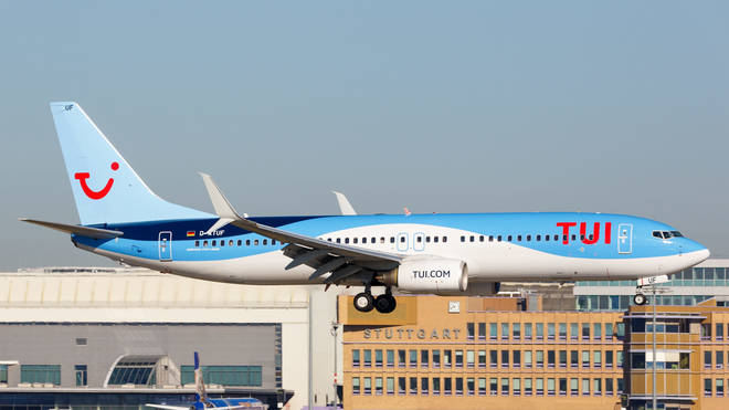 A TUI Boeing 737 at Stuttgart airport