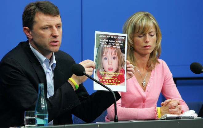 Kate and Gerry appealing for information on their daughter's whereabouts in Portugal