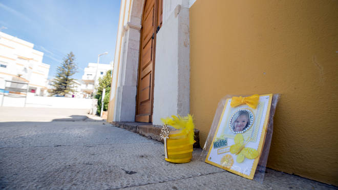 Tributes left outside the church in Praia da Luz for Maddie after her disappearance