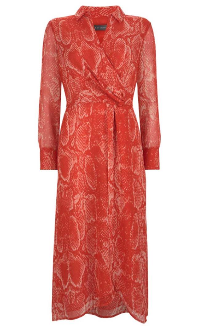 Kelly Brook's snake print dress is by Mint Velvet