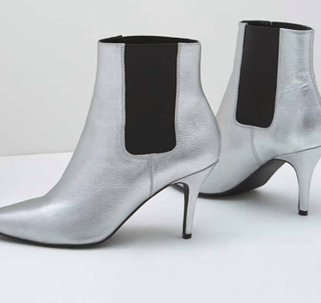 Kelly Brook's silver kitten heel boots are also by Mint Velvet