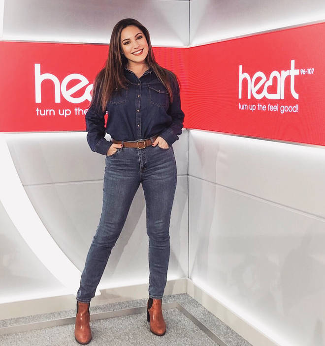 Kelly Brook rocked the double denim look for Tuesday's show