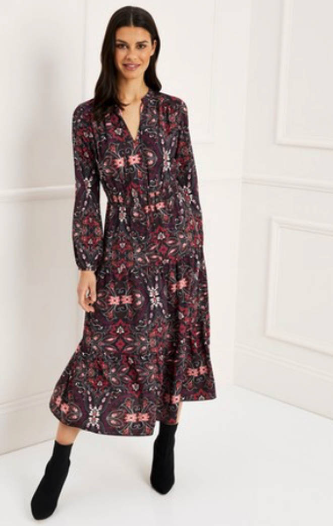 Kelly's floral dress is by Lipsy
