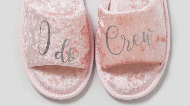 Kit your hen party out in these plush slippers, which are also available in white