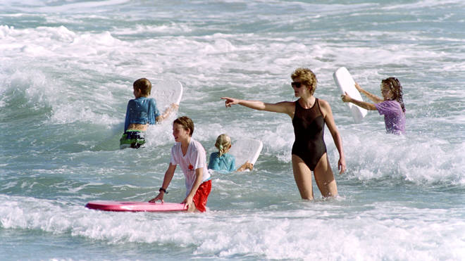 Princess Diana enjoyed playing in the sea with her children
