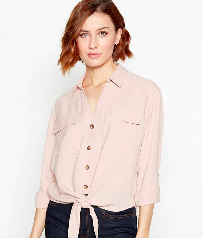 Red Herring Light Pink Tie Front Utility Blouse, £25