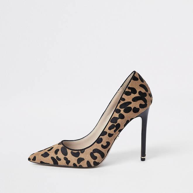 River Island leopard print court shoes, £60