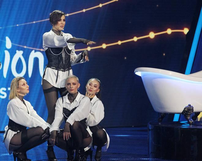 Ukrainian singer MARUV is seen performing the 'Siren Song'...