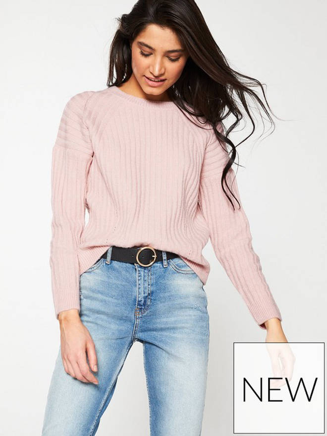 Crew Neck Pointelle Detail Rib Jumper