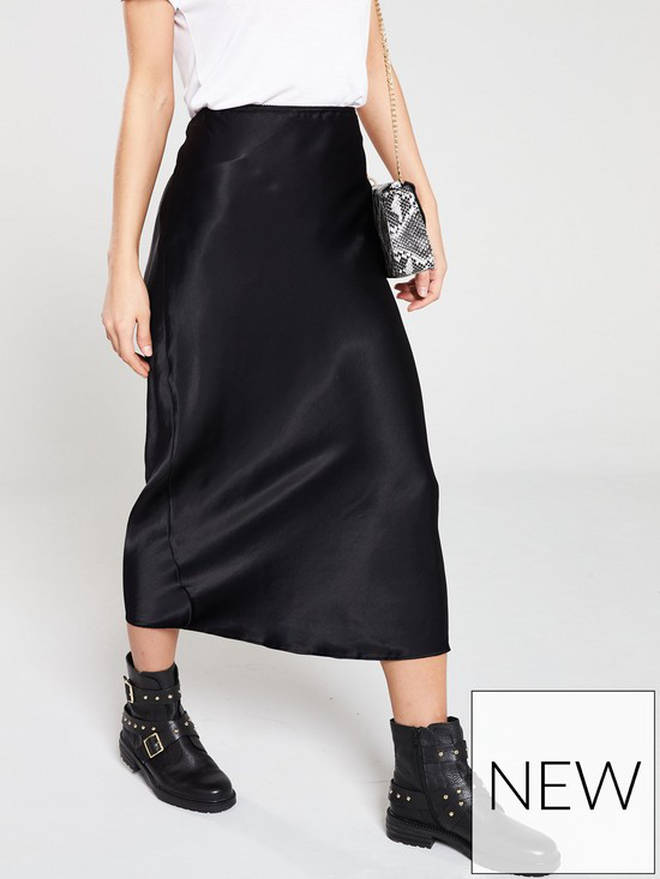 Satin Bias Midi Skirt