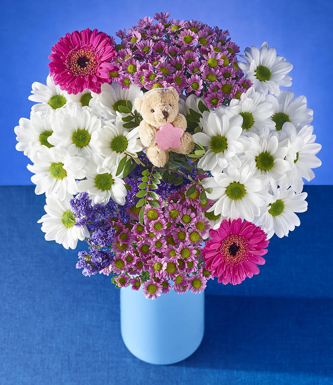The 'Thank You Mum' bouquet includes an adorable teddy bear