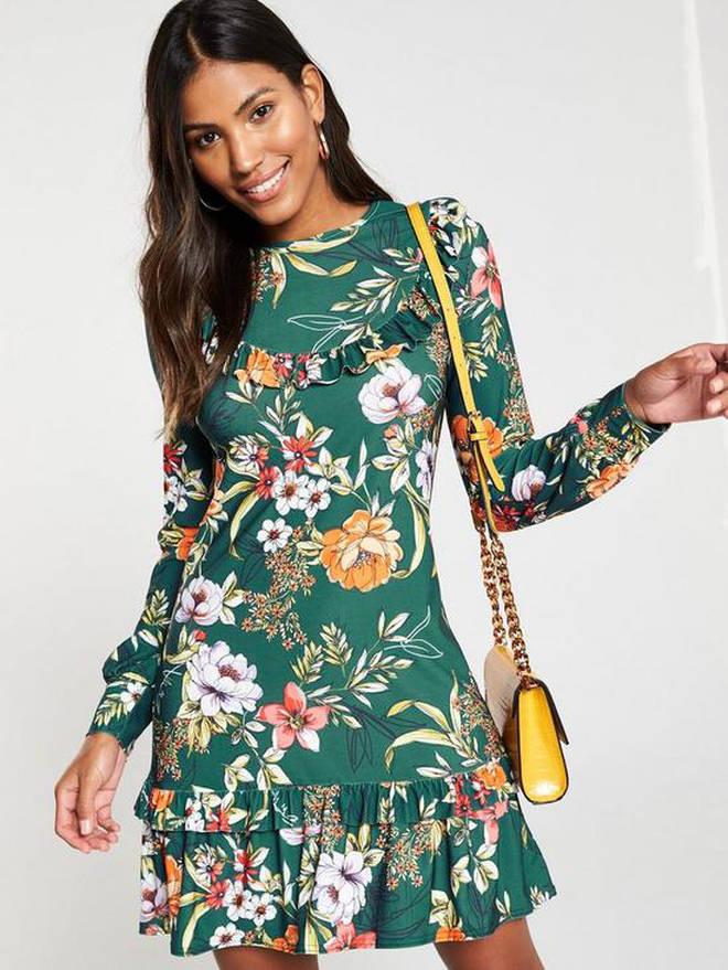 Frill Yoke Floral Jersey Printed Dress - Green
