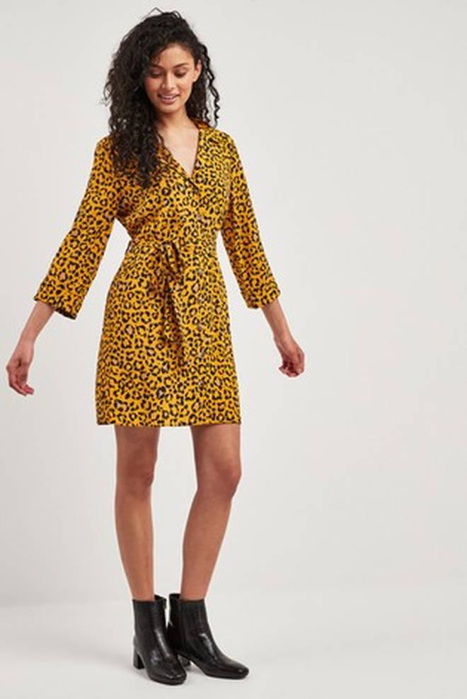 F&F Orange Tiger Print Shirt Dress
