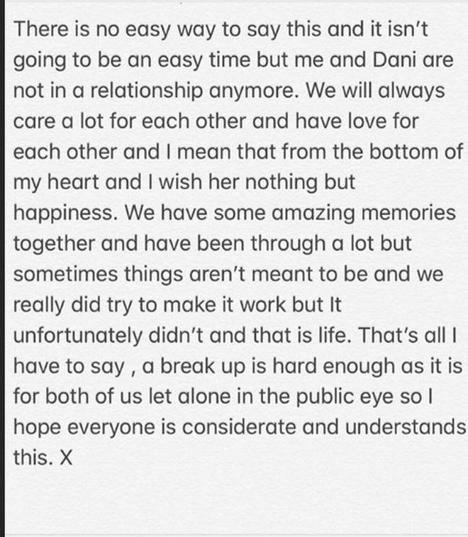 Jack Fincham announced the split on Instagram