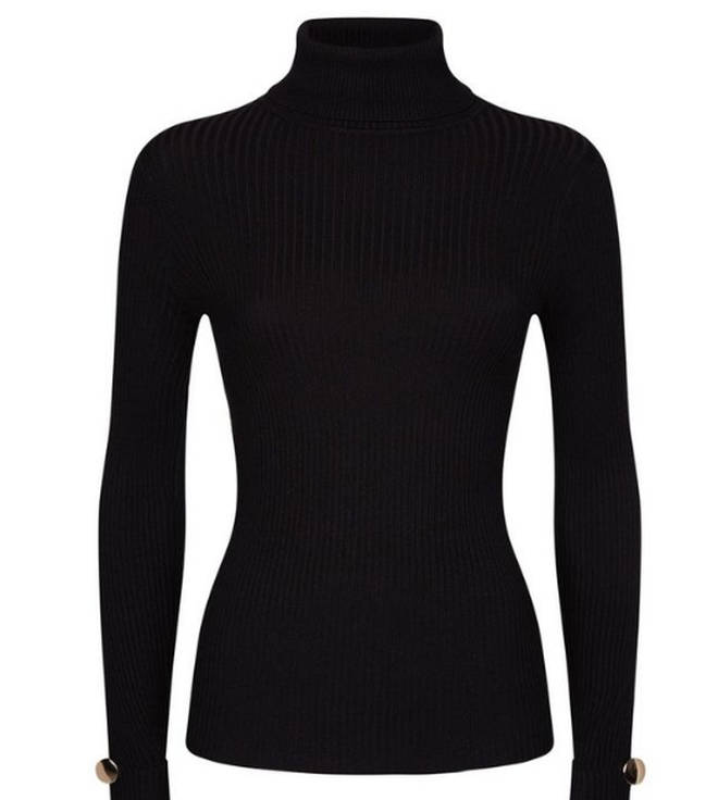 Black Ribbed Button Cuff Roll Neck Jumper