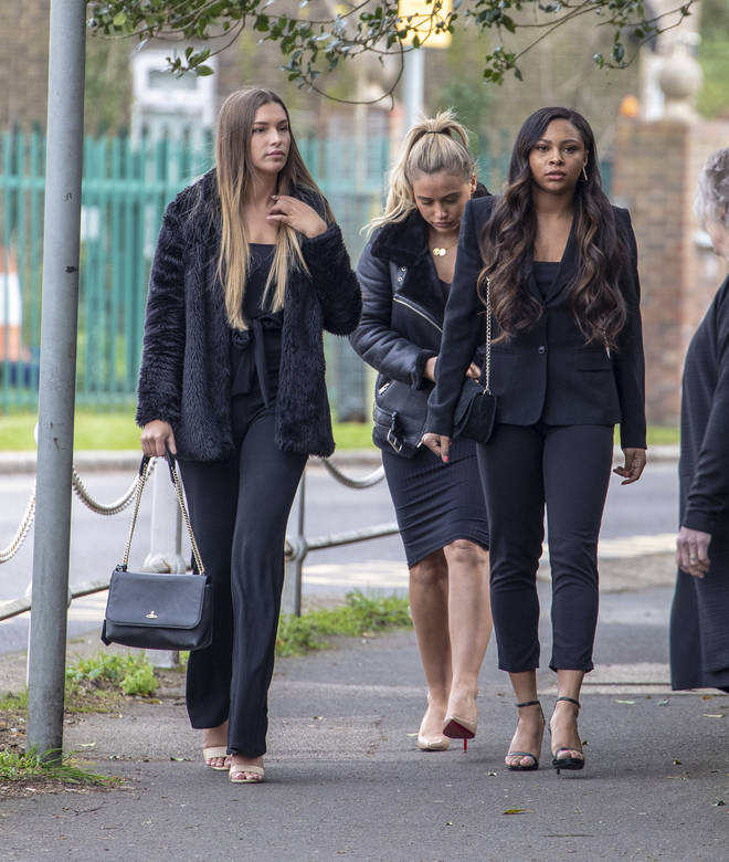Zara McDermott, Ellie Brown and Samira Mighty pictured at Mike's funeral